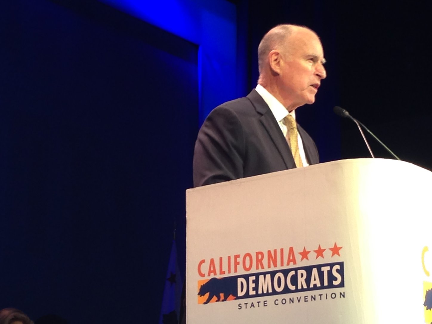 Gov. Jerry Brown speaks to the California Democrats' annual convention in Los Angeles. (Scott Detrow / KQED)