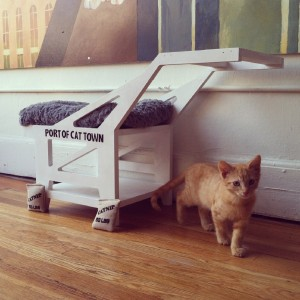 This pop-up installation was a preview of what Oakland's Cat Town Cafe might look like when it opens later in 2014. The custom-built cat bed/play structure pays homage to the Port of Oakland's iconic cranes.  (Adam Myatt/Cat Town Cafe)