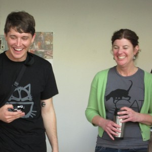 Cafe co-founders Adam Myatt of Hoodcats and Ann Dunn of Cat Town rescue. (Nina Thorsen/KQED)