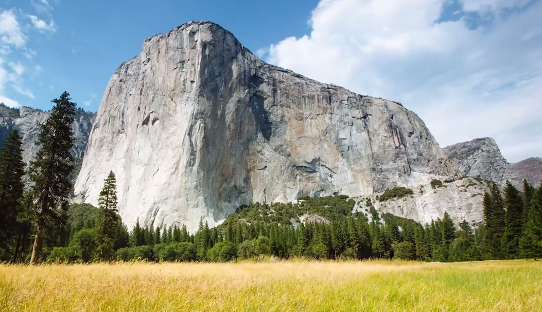 El Capitan looms above Yosemite Valley in screen shot from Project Yosemite time lapse.