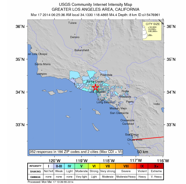 U.S. Geological Survey map of citizen reports of Monday morning's earthquake in Los Angeles (click for interactive version).