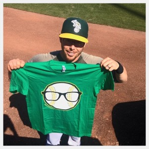 A's fan  Jamey Van Dyke designed this shirt to honor infileder Eric Sogard, one of the few major leaguers to wear glasses. (Jamey Van Dyke