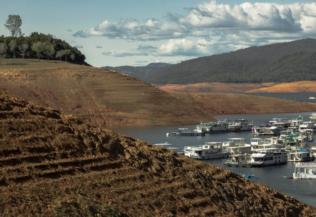View across the mini-terraces on what is often a slope beneath the surface of Lake Oroville. The terraces are formed by lapping water as the surface level changes. (Dan Brekke/KQED)