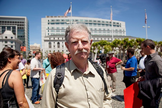Taxi driver Frank Fahy attended an Airbnb rally at City Hall (Mark Andrew Boyer/KQED)