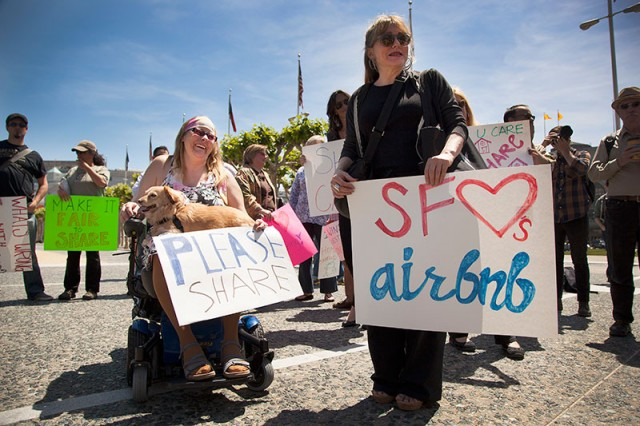 Victoria Schaller and Tish Kronen attended an Airbnb rally in front of San Francisco City Hall (Mark Andrew Boyer/KQED)