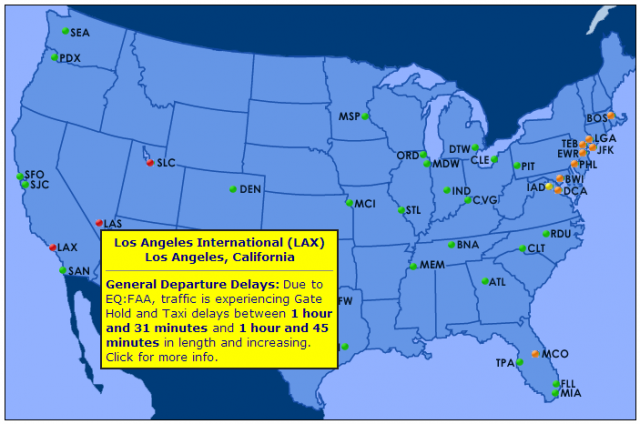 Screen capture of FAA airport delay page reporting equipment problem at Los Angeles International Airport.