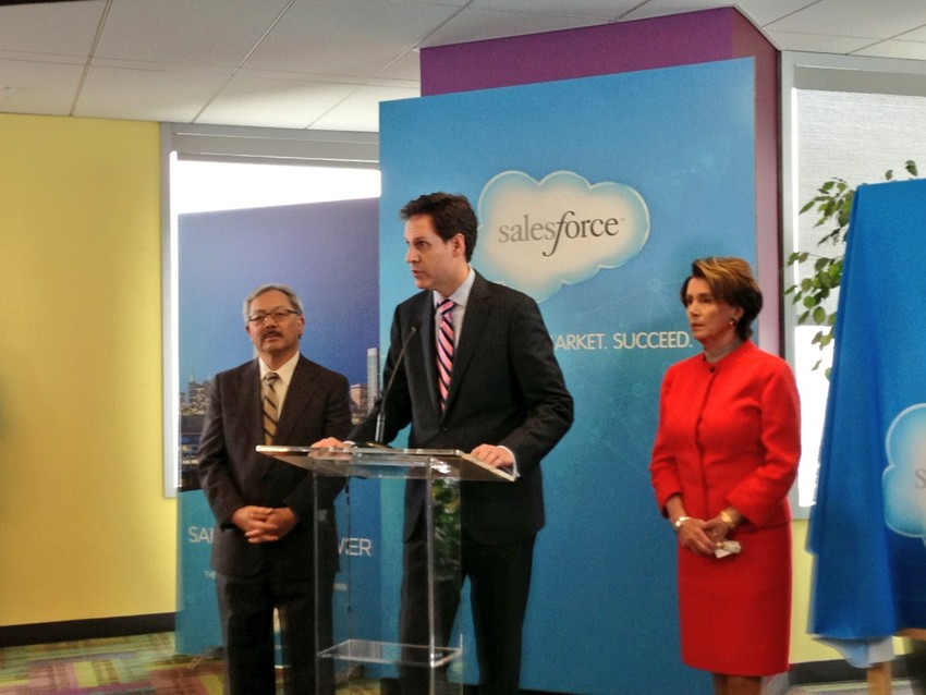 Mayor Ed Lee, Salesforce Chief Legal Officer Burke Norton and Sen. Nancy Pelosi announce the Salesforce Tower Deal. (Cy Musiker/KQED)