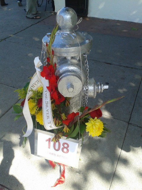 This fire hydrant at Hayes and Buchanan got a coat of silver paint to honor its role in putting out fires in 1906. (Scott Morris/BCN)