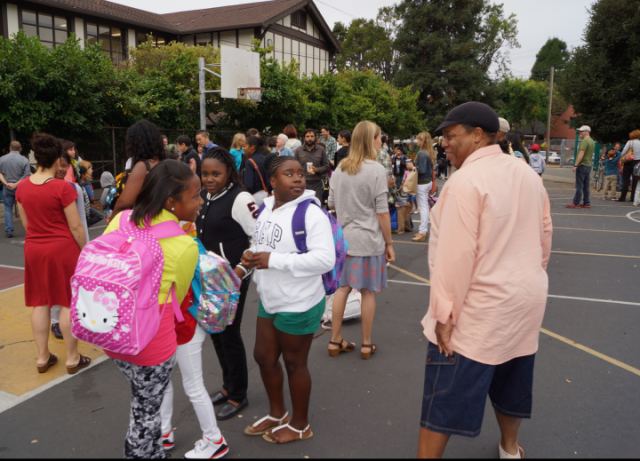 First day of school at John Muir Elementary: BUSD now requires three proofs of residency from families entering the district. (Mark Coplan/BUSD)