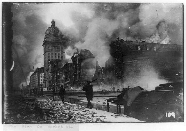 The fire on Market Street (Library of Congress).