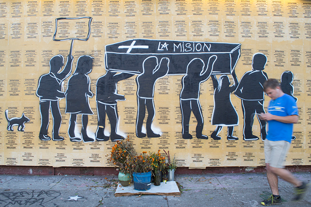 A mural in the Mission District mourns the evictions affecting longtime residents and businesses. (Sara Bloomberg/KQED)