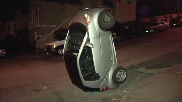 San Francisco Smart Cars Upended by Hoodie-Clad Vandals