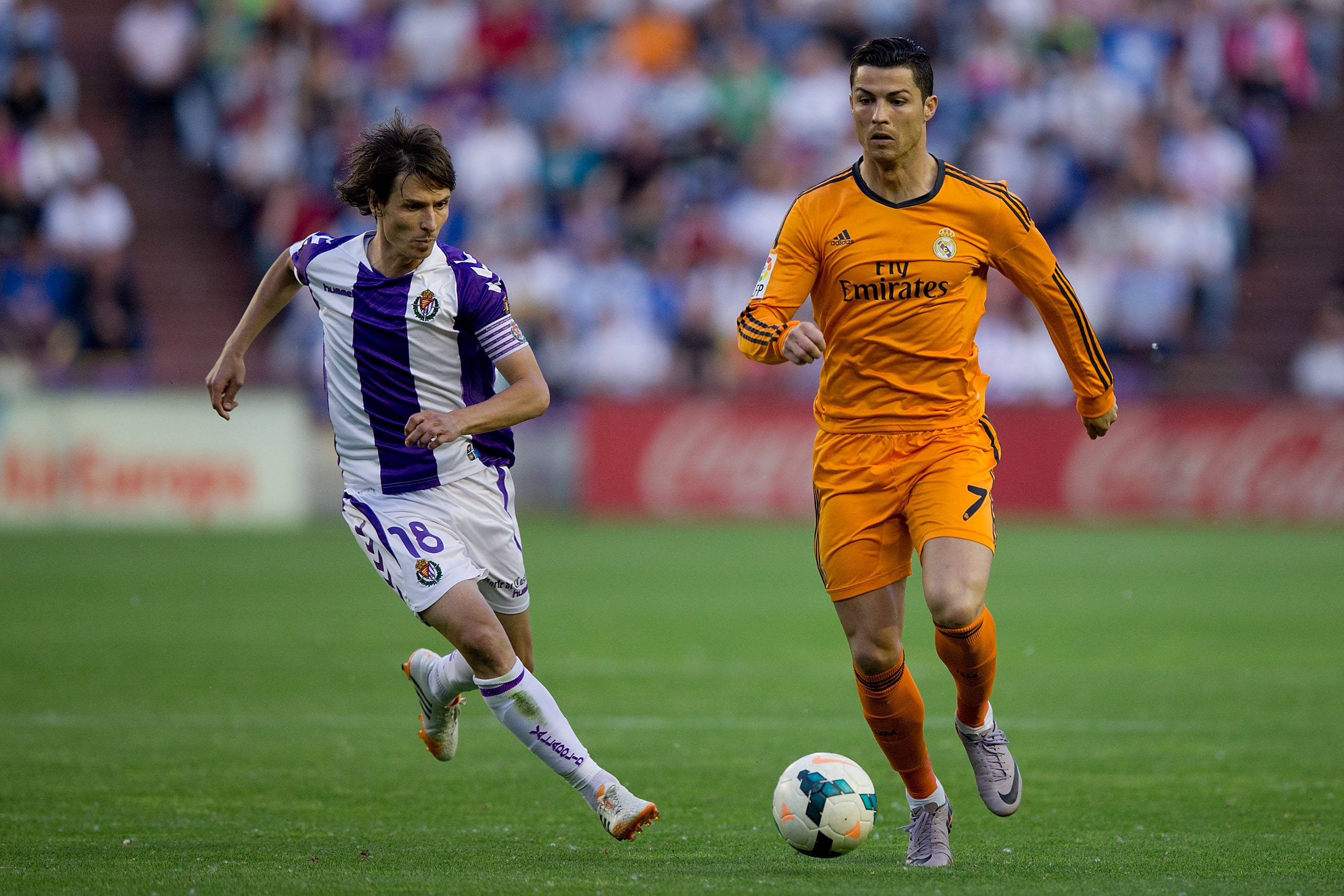 Cristiano Ronaldo, right, of Real Madrid CF competes for the ball with Alvaro Rubio of Real Valladolid CF during a match on May 7 in Valladolid, Spain. (Gonzalo Arroyo Moreno/Getty Images)