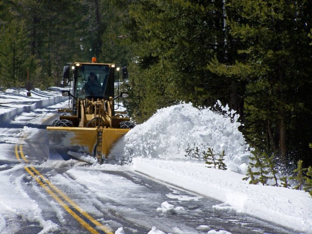 In mid-April, crews began plowing the Tioga Road through Yosemite. The road opened Friday. (Yosemite National Park via Facebook)