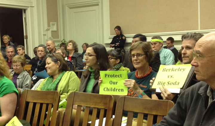 Proponents of a soda tax were out in force in neon green at Berkeley City Council in March. (Lance Knobel/Berkeleyside)