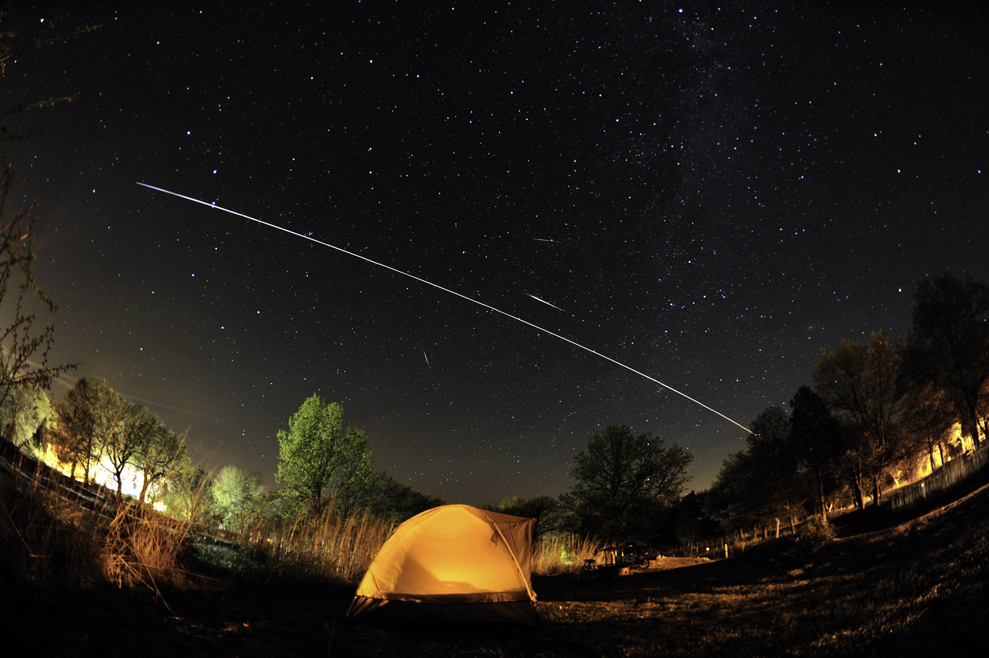 Proof that the Camelopardalids were real: a composite time-lapse taken near Lake Erie, with the International Space Station accounting for the bright streak at the  image's center. (Malcolm Park/North York Astronomical Association)