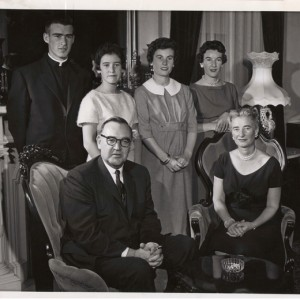 Jerry Brown (back left) pictured with his father, Gov. Pat Brown (seated left).