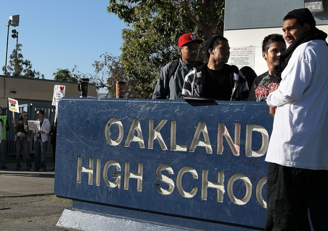 The Oakland School Board wants to improve the city's high schools by  creating career academies within schools. City voters would have to pass a parcel tax to pay for the changes. (Justin Sullivan/Getty Images)