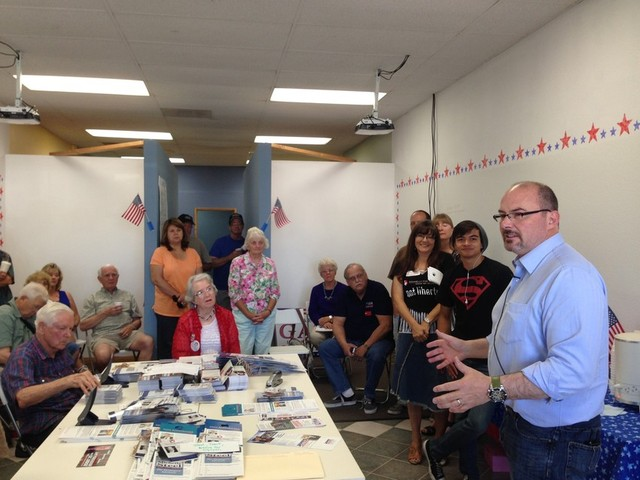 3)	Tim Donnelly speaks to a group of campaign volunteers in Orange County. (Scott Detrow/KQED)