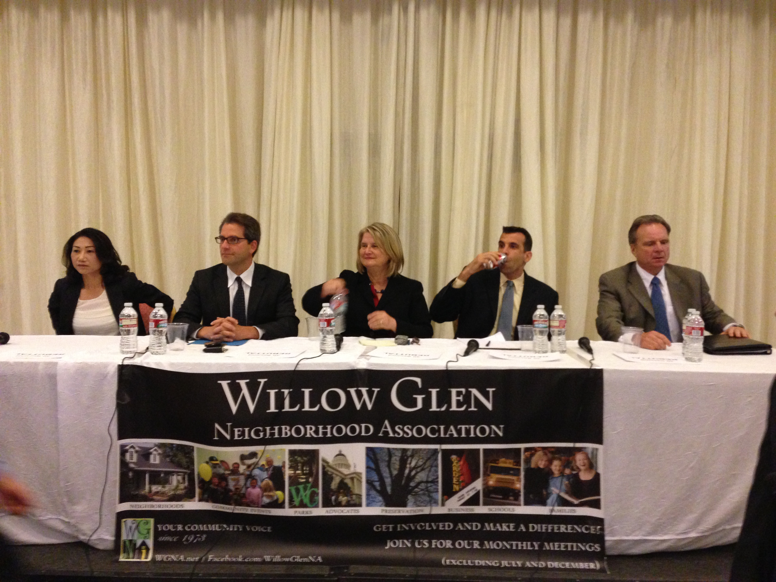 Candidates for San Jose Mayor, from left to right: Madison Nguyen, Pierluigi Oliverio, Rose Herrera, Sam Liccardo, and Santa Clara Supervisor Dave Cortese. (Cy Musiker/KWQED)