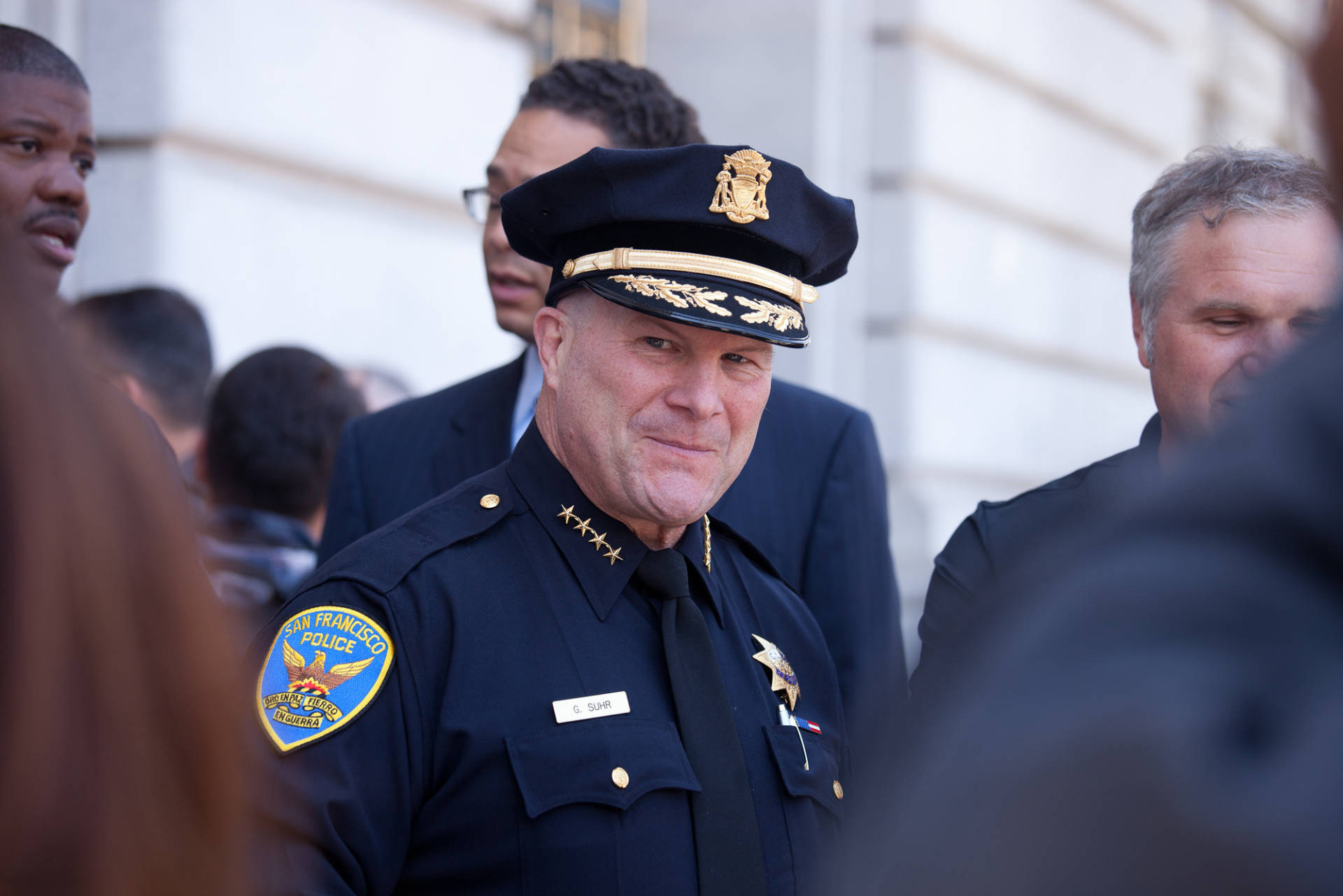 San Francisco Police Chief Greg Suhr, shown here in 2013, spoke at USF about problems with witness identification. (Deborah Svoboda/KQED)