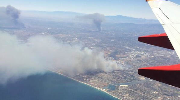 A picture from Twitter user Gilbert Gaona showing fires burning in San Diego County on Wednesday.