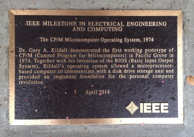 Plaque honoring Gary Kildall, who developed pioneering operating system for personal computers. (Krista Almanzan/KQED)