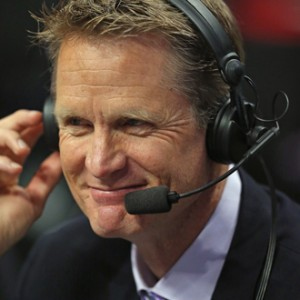 Broadcaster and former NBA player Steve Kerr works the game between the Chicago Bulls and the Washington Wizards in Game Five of the Eastern Conference Quarterfinals during the 2014 NBA Playoffs, April 29, 2014 in Chicago. (Jonathan Daniel/Getty Images)