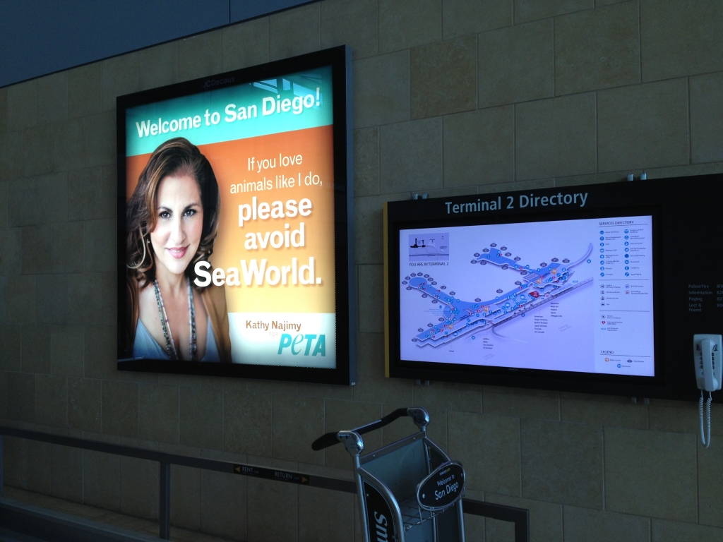 Airport advertisement from People for the Ethical Treatment of Animals urging San Diego airport patrons to avoid SeaWorld. (PETA photo)