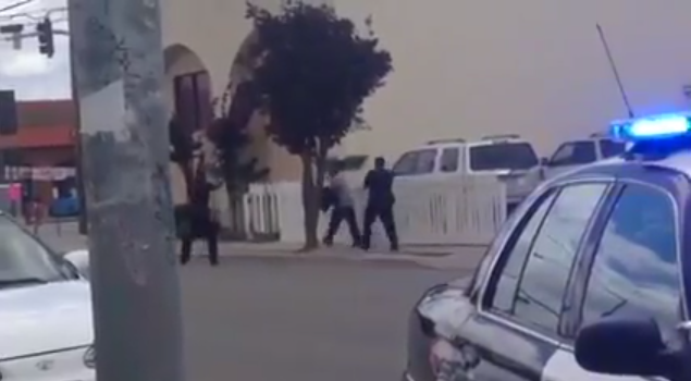 Image from video of May 20, 2014, Salinas police shooting of a suspect at Del Monte Avenue and Sanborn Road.