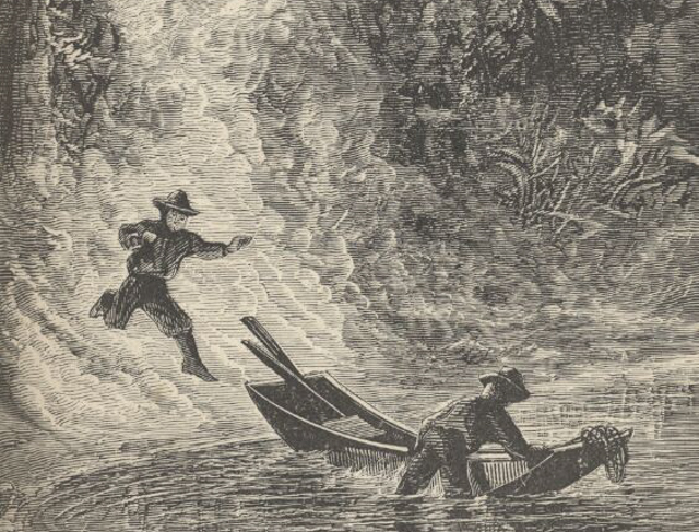 "In a detail of an illustration from Mark Twain's ""Roughing It,"" Twain and a companion react to setting a wildfire at Lake Tahoe in 1861."