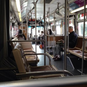 "Ian Sherr caught a nearly empty 1AX bus Tuesday morning despite the Muni ""sickout."" (Courtesy Ian Sherr)"
