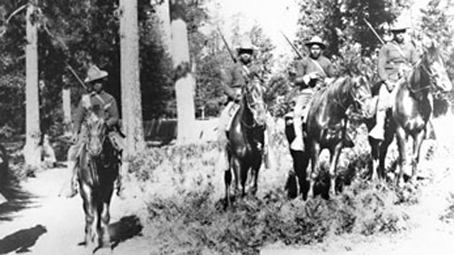 In 1899, Buffalo Soldiers in the 24th Infantry carried out mounted patrol duties in Yosemite.