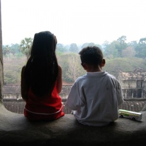 Ming Horn and her brother at Angkor Wat when she was in 1st grade. (Ming Horn/Berkeleyside)