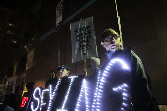 Protesters at a Bay Area surveillance protest. (Jeremy Raff/KQED)