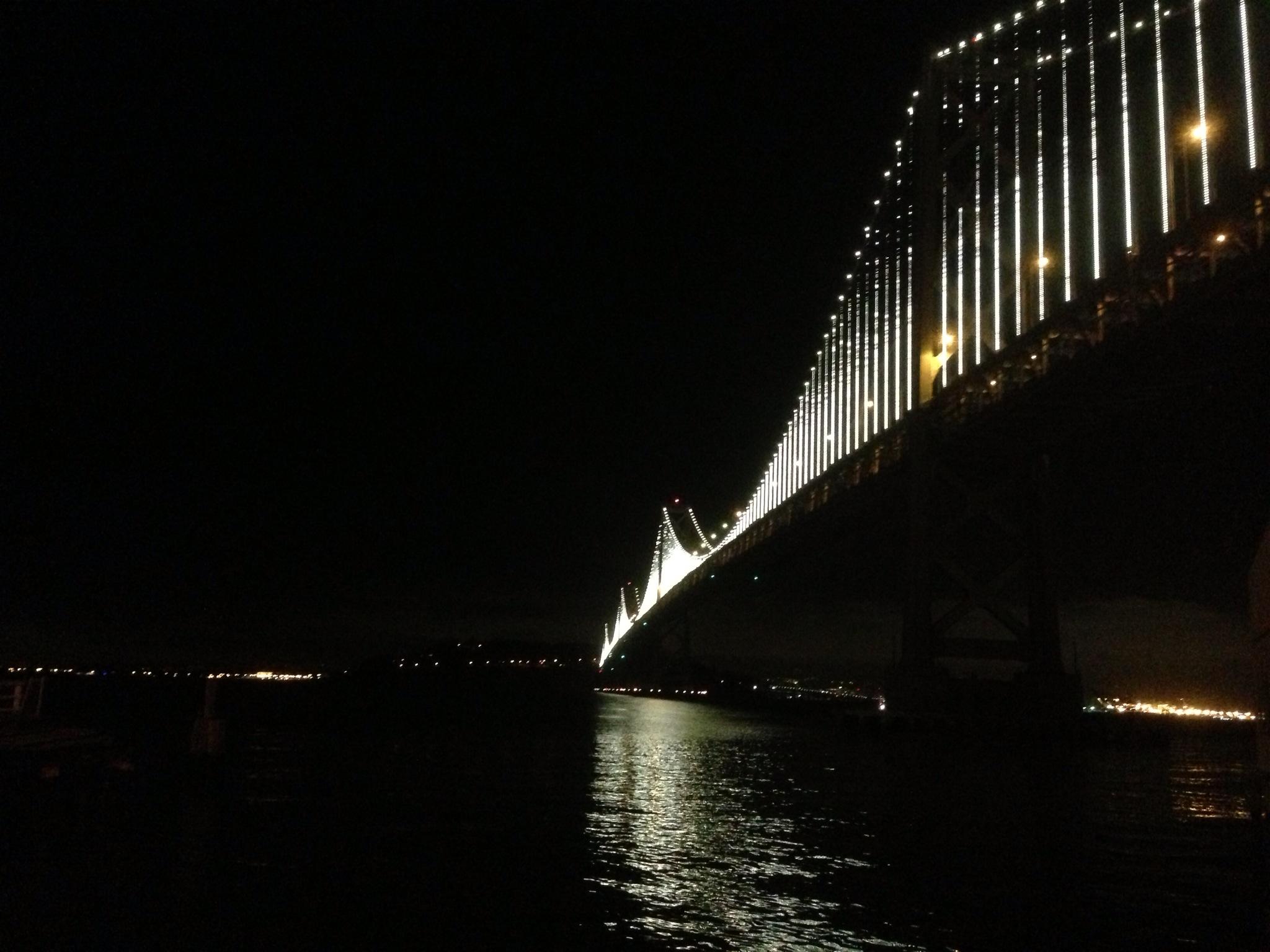 The Bay Bridge, seen from Port of San Francisco property along the Embarcadero. (Patricia Yollin/KQED)