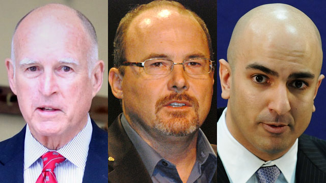 Gov. Jerry Brown, Assemblyman Tim Donnelly and Neel Kashkari are vying for two spots on the November ballot. (Jeremy Raff/KQED, Erin Tyler/Flickr and Jonathan Ernst/Getty Images)
