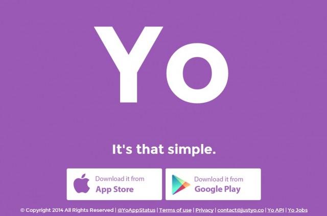 The web homepage for Yo.