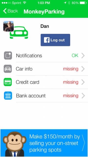 A screenshot of the MonkeyParking app, informing users they can make $150 a month by selling on-street parking spots.