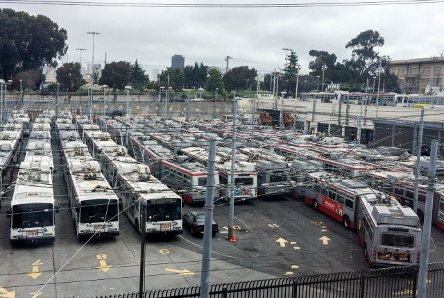 Idle buses at Muni's Potrero Division yard during Monday's driver sickout. (Olivia Allen-Price)