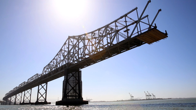 The Bay Bridge's old eastern span as seen from from a boat between the old and new spans.(Adam Grossberg/KQED)