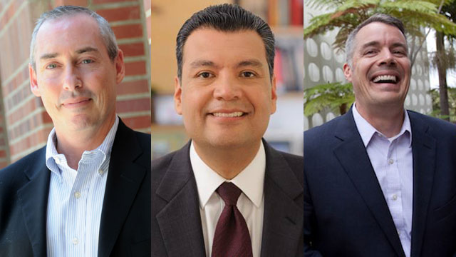 Dan Schnur, Alex Padilla and Pete Peterson are among the candidates vying for Secretary of State. (Courtesy photos)