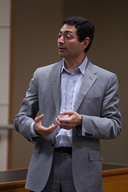 Professor Mariano-Florentino Cuellar talks at Stanford Law School's first ACS Student Convention in March 2013. (Photo by Brendan Cohen)