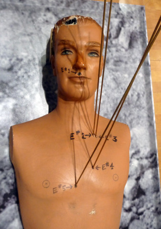 A mannequin used in the 1963 Onion Field trial to show where slain Officer Ian Campbell was shot. (Peter Gilstrap/KQED)
