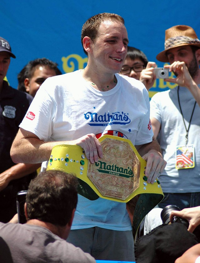 San Jose's Joey Chestnut Eats a Lot of Hot Dogs, Proposes