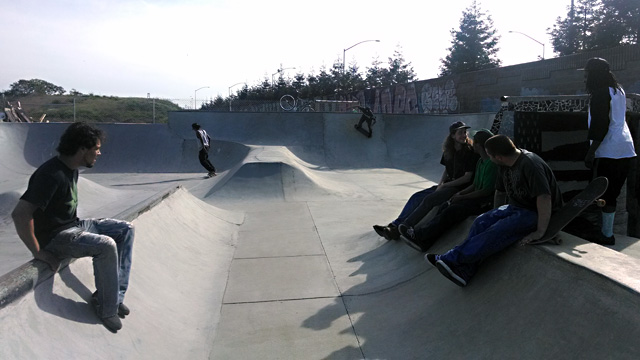 Skaters at West Oakland's unsanctioned Lower Bobs skate park. (Andrew Stelzer/KQED)