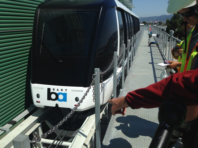 One of the trains for BART's Oakland Airport Connector. (Isabel Angell/KQED)