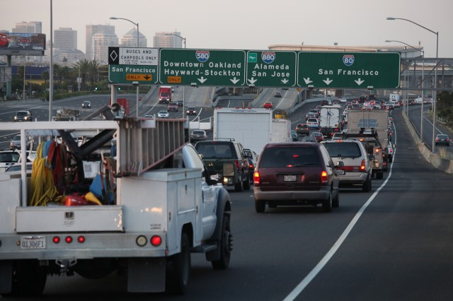 Traffic congestion on westbound Interstate 80 in Emeryville. (Deborah Svoboda/KQED)