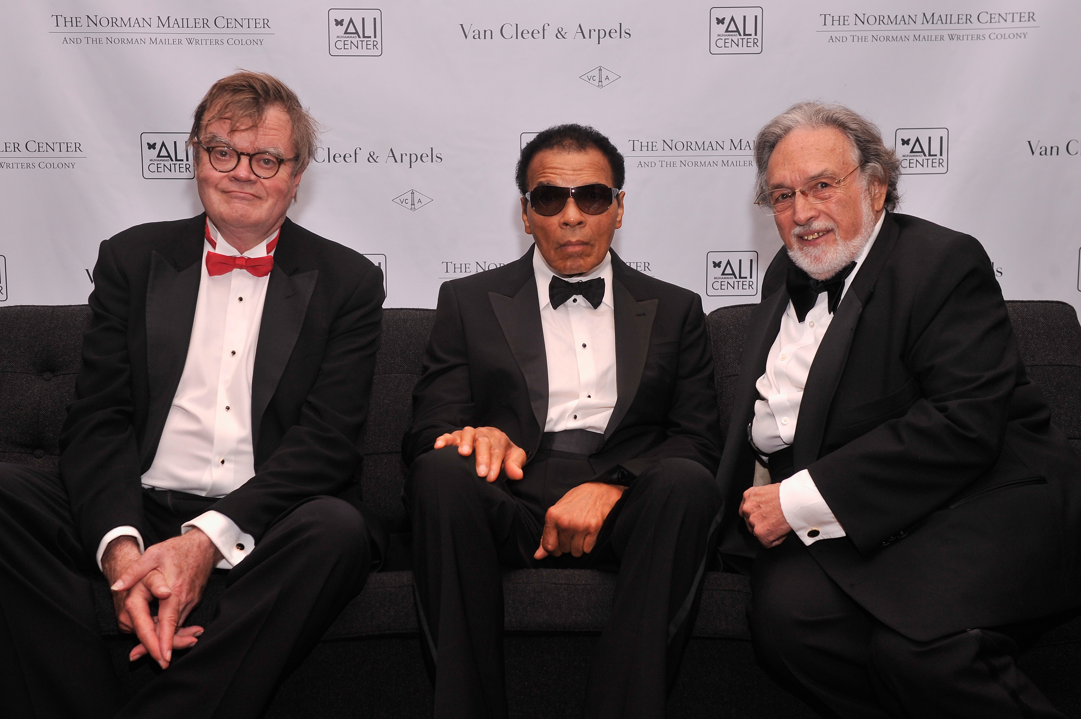 Garrison Keillor, former boxing champion Muhammad Ali and Lawrence Schiller attend the Norman Mailer Center 4th Annual Benefit Gala on October 4, 2012 in New York City. (Photo by Stephen Lovekin/Getty Images for Norman Mailer Center)