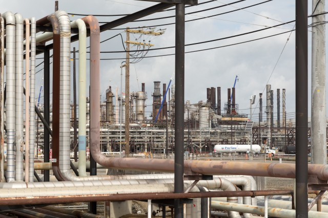 A section of Chevron's Richmond oil refinery. (Josh Cassidy/KQED)